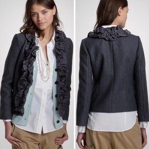 J. Crew Chimera Jacket Silk Wool Ruffle Gray 4